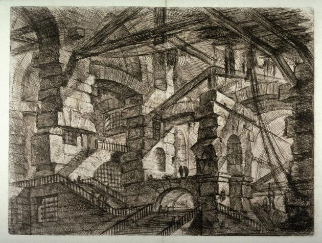 "Giovanni Battista Piranesi, Carceri, plate XIV, ""The Gothic Arch"", 1750."