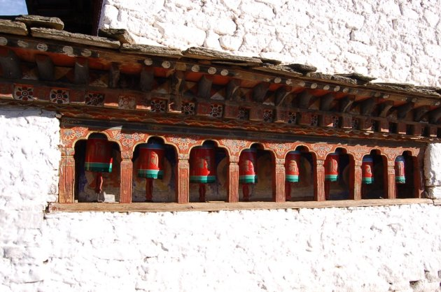 Prayer wheels at Kyichu Lhakhang, Bhutan. Randi Wightman, 2009.