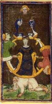 Visconti-Sforza tarot, Wheel of Fortune, 1451.