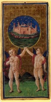 Visconti-Sforza tarot, The World, 1451.
