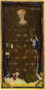 Visconti-Sforza tarot, Queen of Cups, 1451.