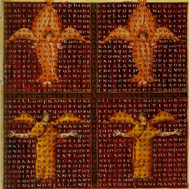 Carmen figuratum, Biblioteca Apostolica Vaticana, 12th century.