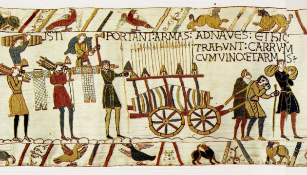 Bayeux Tapestry, Weapons and wine are carried abord William's invasion fleet, c. 1070.