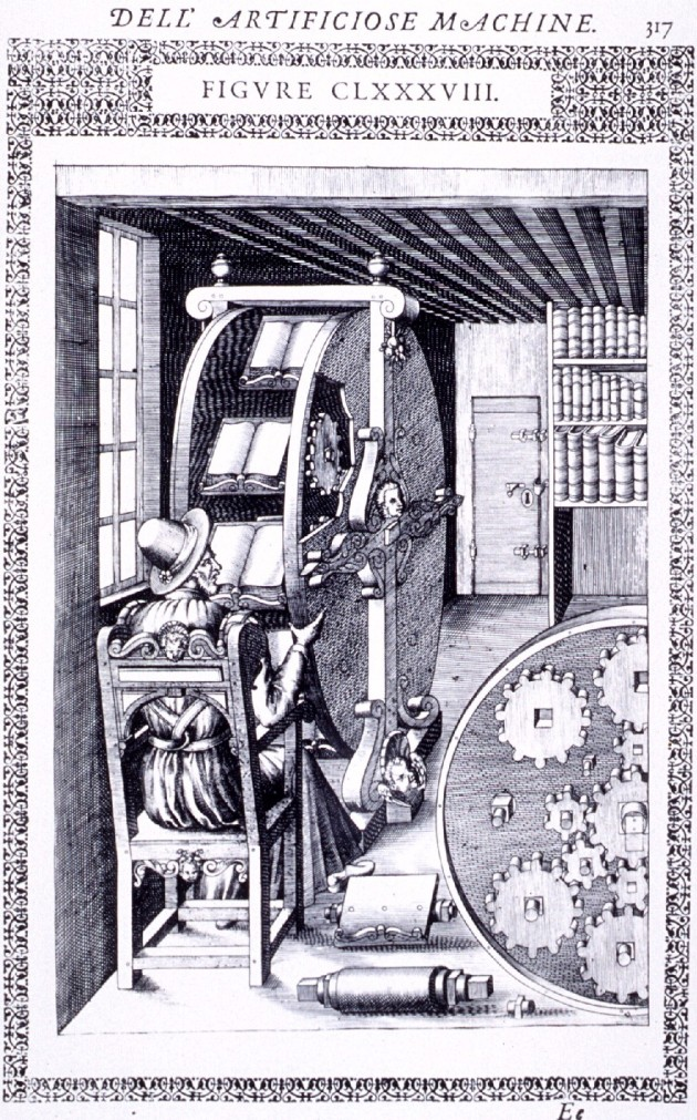 Agostino Ramelli, Le diverse et artificiose machine del Capitano Agostino Ramelli (The various and ingenious machines of Captain Agostino Ramelli), 1588.