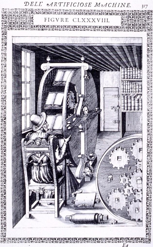 Agostino Ramelli, Le diverse et artificiose machine del Capitano Agostino Ramelli (The various and ingenious machines of Captain Agostino Ramelli), 1588.