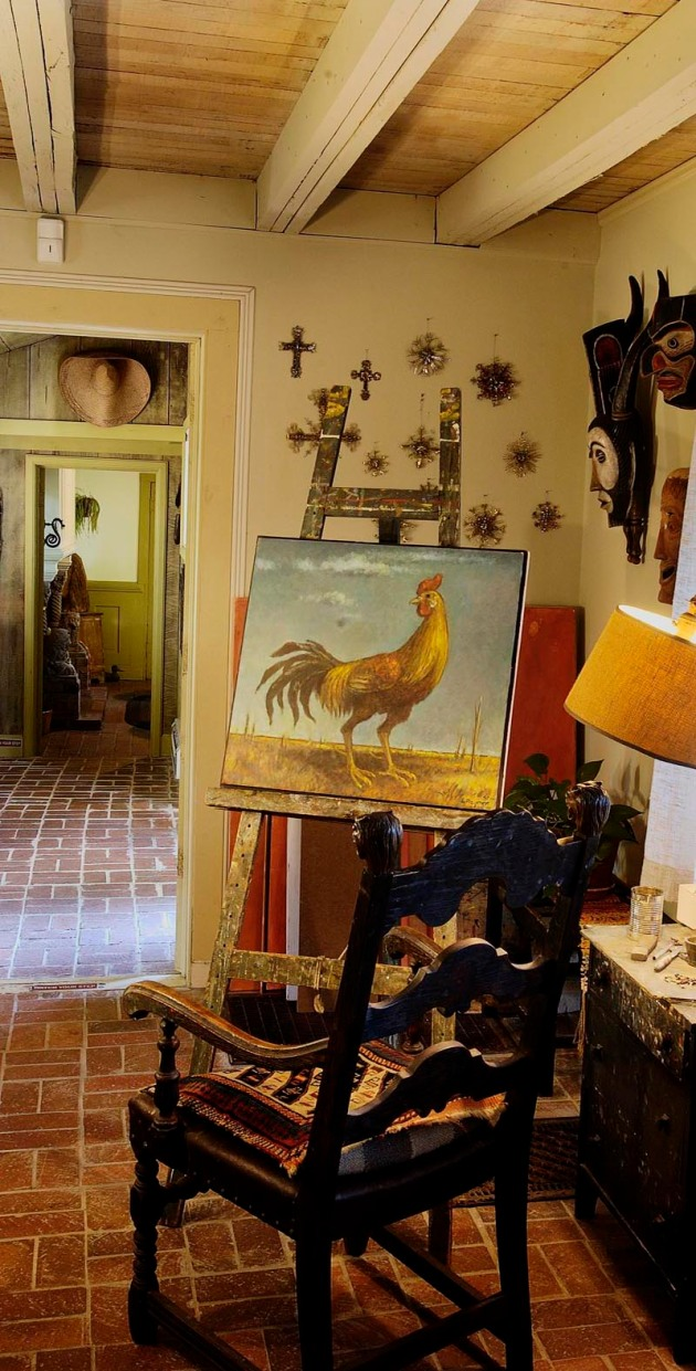 Red Barn Studio interior, Lindsborg, Kansas. Easel with Lester Raymer's last painting, untitled, oil on board, 1991.