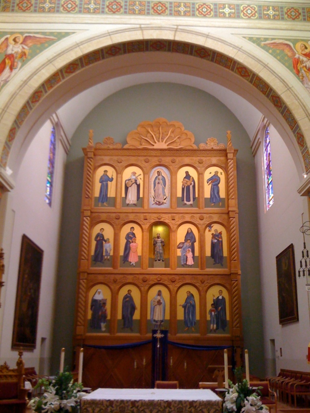 Reredos with St Francis encircled by New World saints, Cathedral Basilica of St. Francis of Assisi, Santa Fe, New Mexico.