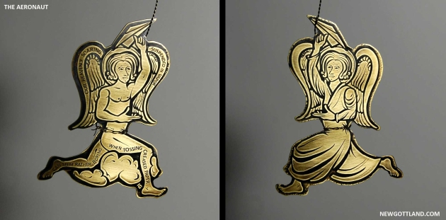 "The Aeronaut, etched brass sheet, brass wire. 5"" x 3.25"", 2012"
