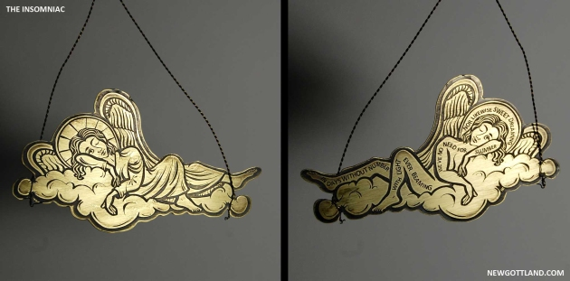 "The Insomniac, etched brass sheet, brass wire. 3"" x 5.25"", 2012"