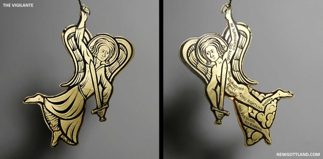 "The Vigilante, etched brass sheet, brass wire. 5.25"" x 3"", 2012"