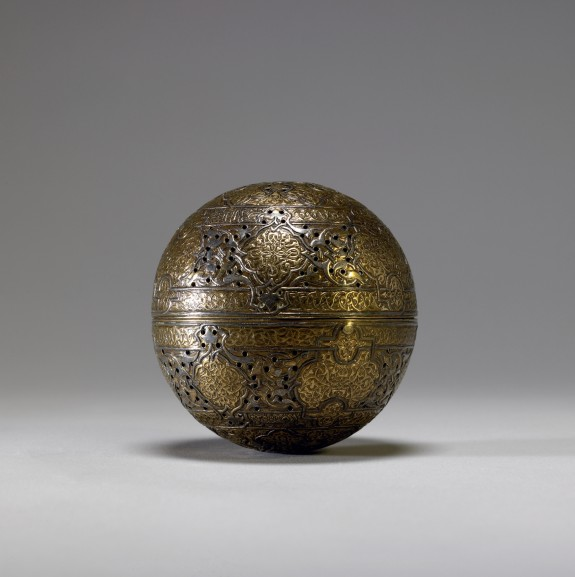 Zayn al-Din. Incense Burner or Handwarmer. 15th - 16th c. gilded brass with silver inlay. Walters Art Museum.
